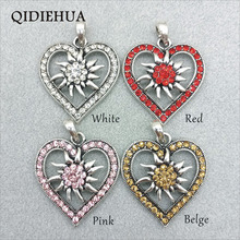 3pcs Antique Silver Fashion Love Heart Crystal Flower Charm Pendant Jewelry Making Lucky Edelweiss DIY Findings