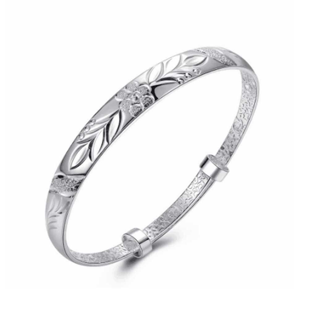 Mới Đơn Giản Thời Trang Nữ Bạc 925 Sóng Mở Vòng tay Dành Cho Nữ Trang Sức bạc 925 vòng tay vòng tay Femme ARGENT 925 lắc tay