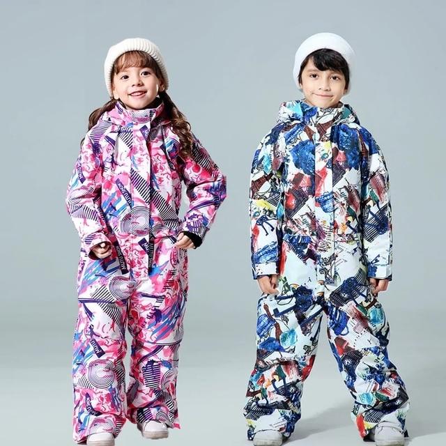 -30 Degree Children Ski Jumpsuit 2020 Winter Snowboard Jacket Boys and Girls Outdoor Snow Suits Warm Waterproof Kids Ski Jacket