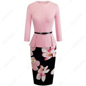 Image 4 - Automne hiver classique femmes robe daffaires élégant ceintures couleur unie moulante travail carrière robe de bureau EB473
