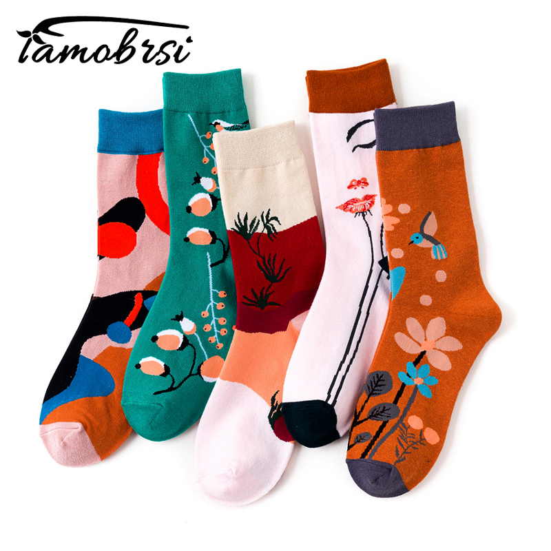 Cartoon Nylon Fun Cute Kawaii Short Ladies Flower Streetwear Women Socks Warm Funny White Short Winter Cotton Happy Ankle Socks