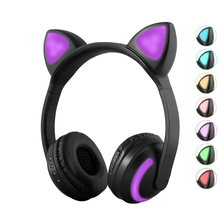 7 Colors Led Light Bluetooth Stereo Headphones Wireless Cat Devil Ear Headset Flashing Glowing Gaming Earphone Ru Free Shipping все цены