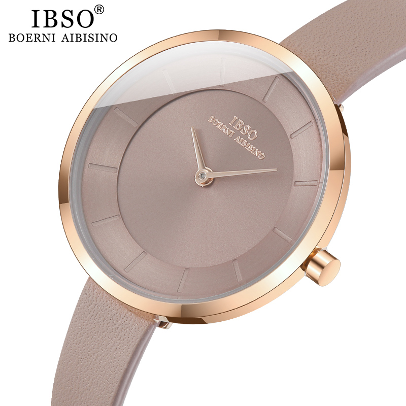 IBSO Women's Quartz Watch Simple Waterproof Clock Hours Fashion Montre Femme Ladies Quartz Leather Waterproof Wristwatch