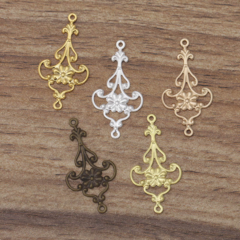 20pcs Filigree Flower Earring Charms Clasps Antique Bronze Gold Plated Copper Wrap Connector Accessories For DIY Jewelry Making