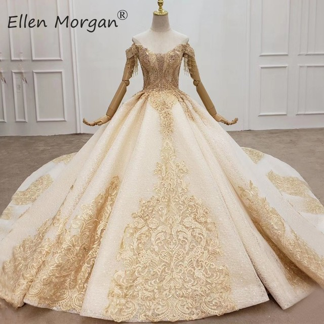 Elegant Off ไหล่ Gowns ชุดแต่งงานลูกไม้ 2020 Real รูปภาพ Beaded Fringe Elegant ชุดเจ้าสาวสำหรับผู้หญิง