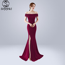 Skyyue Evening Dress Boat Neck Robe De Soiree Short Sleeve Women Party Dresses 2019 Plus Size Crystal Split Formal Gowns C097 geometric cat dark brown military dog tag keychain