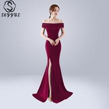 Skyyue Evening Dress Boat Neck Robe De Soiree Short Sleeve Women Party Dresses 2019 Plus Size Crystal Split Formal Gowns C097 самокат hubster mini flash