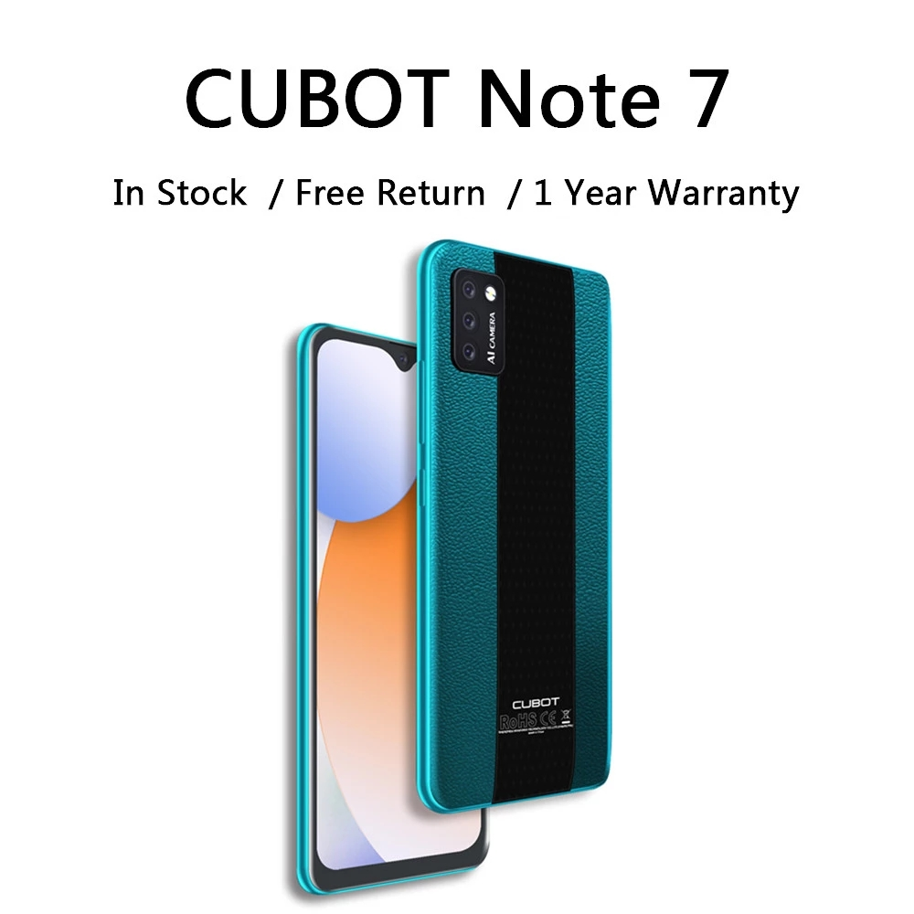 Cubot Note 7 Android 10 Mobile Phone Triple Camera 13MP 4G LTE 5.5 Inch 2GB RAM 16GB ROM 3100mAh Smartphone Small Cheap Phone