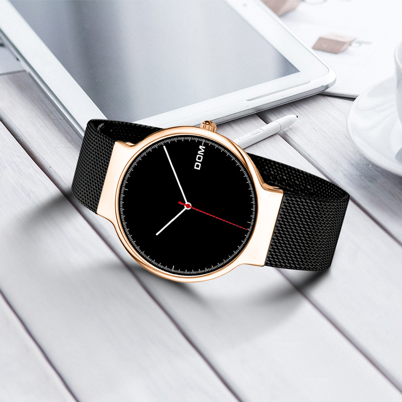 DOM Watch 2018 Hot Selling Watch Fashion Ultra-Thin Mesh Belt Scandinavian Minimalist Three Needle Watrproof Watch M-32GK-1MH