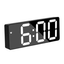 Reloj Despertador Digital acrílico/Espejo, Control de voz, repetición de hora, pantalla de temperatura, modo nocturno