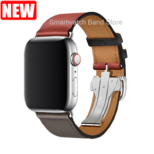 Image 5 - For Apple Watch Band Genuine Leather Single Tour Deployment Buckle for Apple Watch 5 4 3 2 1 Leather Strap for iWatch 44mm 40mm