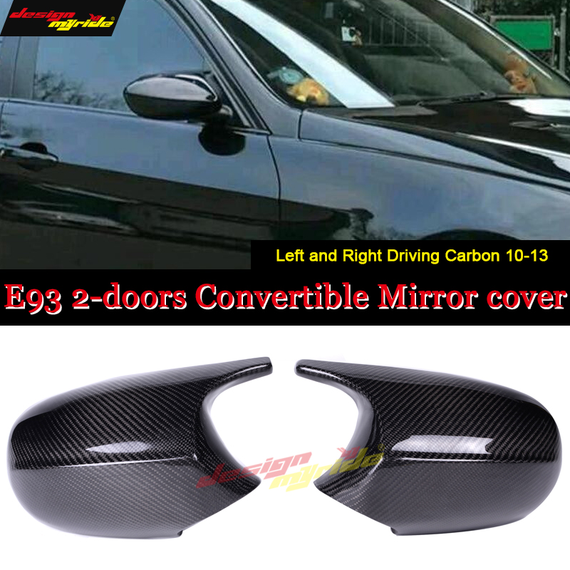 E93 Convertible Rear Mirror Cover Cap Add on Style 1:1 Replacement For BMW M3 Look 100% Vacuumed Dry Carbon Fiber 2 Pcs 2010 13