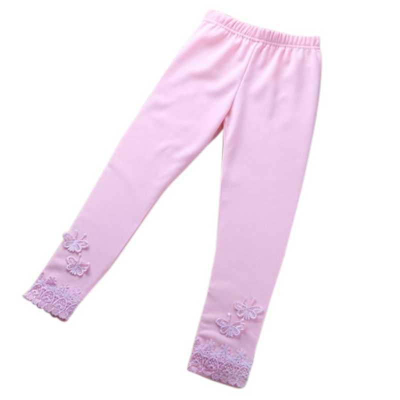 Kız tozluk rahat yürümeye başlayan bebek kız dantel kelebek sıcak uzun pantolon kız sıkı pantolon Lycra tayt çocuk tayt