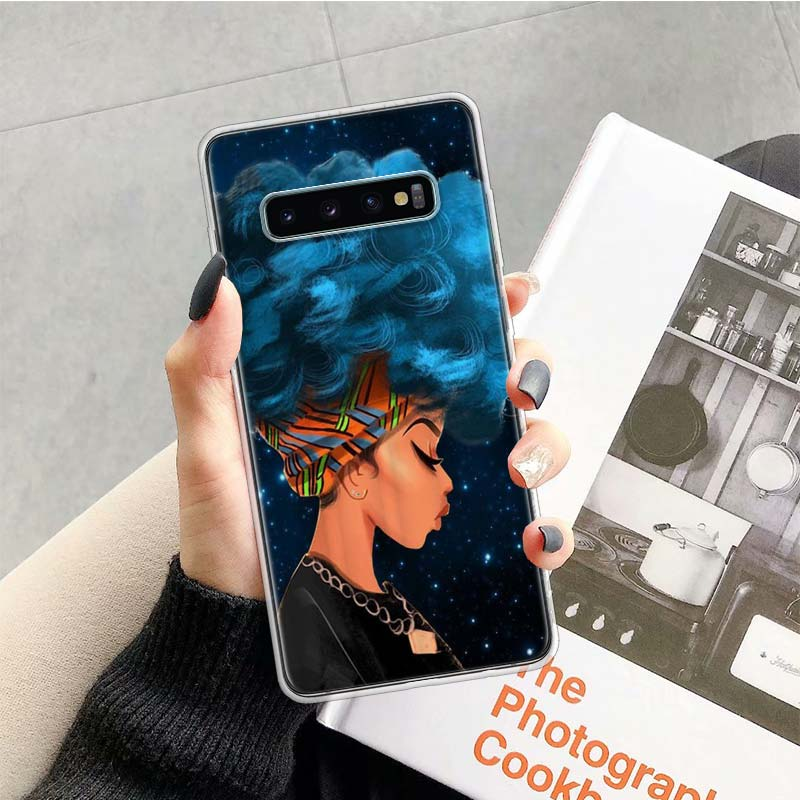 Afro Girls Case for Samsung Galaxy S20 Ultra Note 10 9 8 S10E S9 S8 J4 J6 J8 Plus + Pro S7 S6 Soft Phone Coque
