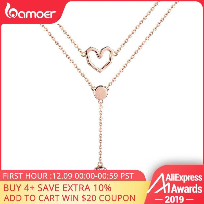 BAMOER Valentine Collection 925 Sterling Silver Double Layers Love Heart Chain Pendant Necklaces Women Female Jewelry SCN317