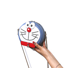 Women Round Doraemon Crossbody Cartoon Printing Chain Handbags Messenger Bag Small Shoulder Lady Purse Phone