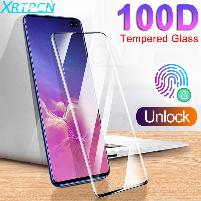 100D Curved Tempered Glass On The For Samsung Galaxy S10 Plus S10E Note 10 Pro S10 + Full Screen Protector Film Protective Glass