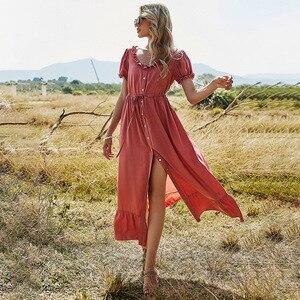 Женское длинное платье с пышными рукавами, однотонное элегантное платье на пуговицах с оборками, высокой талией и круглым вырезом, весна-ле...