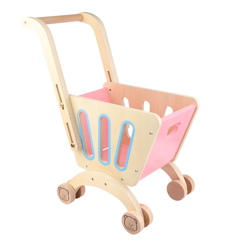 Wooden Children's Shopping Cart Walker Boys and Girls Early Education Play House Shopping Experience Toys Shopping Carts