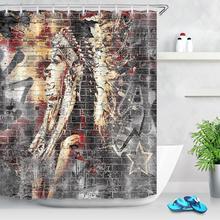 Graffiti Brick Wall African American Girl Shower Curtain Tribal Nation Headdress Fabric Bathroom Curtain Art Decor with Hooks