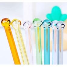 Красочные стеклянные соломинки многократного использования вечерние коктейльные соломинки для молочного коктейля Замороженные бытовые напитки толстые соломинки