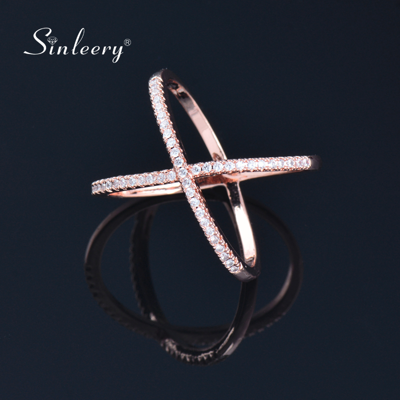SINLEERY Trendy X Shape Cross Wedding Rings Rose Yellow Gold Silver Color Micro Paved Crystal Rings For Women Jewelry JZ008 1