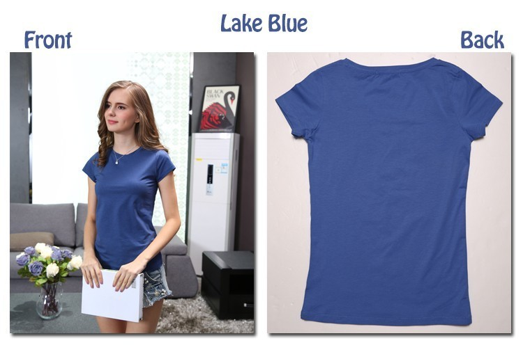 High Quality Plain T Shirt Women Cotton Elastic Basic T-shirts 19