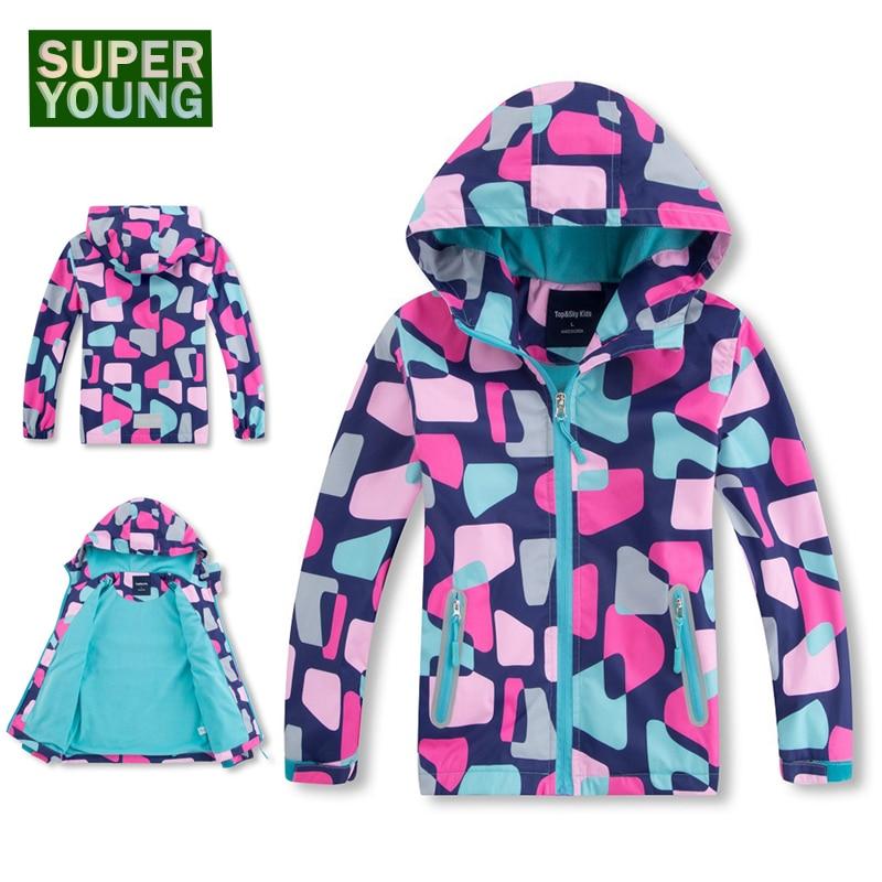 Girl Sports Winter Fleece Softshell Children Waterproof Rain Jackets Kids Hiking Outdoor Ski Coat Camping Windbreaker Soft Shell