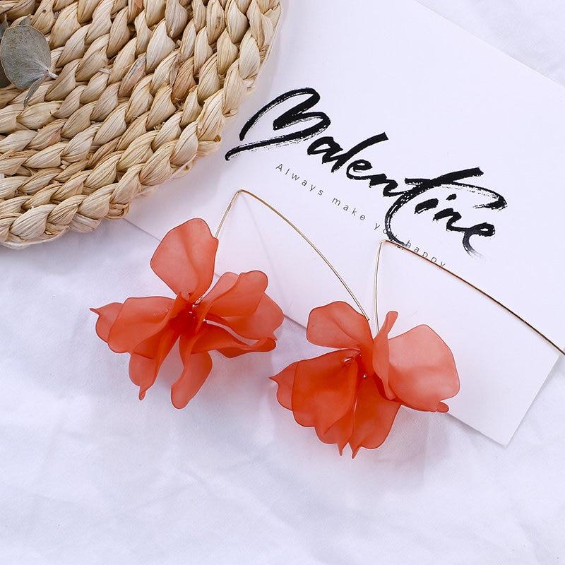 AENSOA 2019 Korean Orange Geometric Pendant Earrings Multiple Drop Earrings Unique Heart Resin Acrylic Raffia Dangle Earrings in Drop Earrings from Jewelry Accessories
