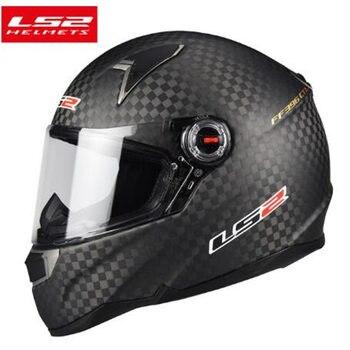 LS2 FF396 Motorcycle Helmet Real Carbon Fiber Full Face Motorcycle Helmet with Double Lens LS2 Racing Helmet Anti-fog Lens ECE