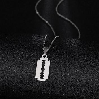 Punk Street Unisex Pendant Razor Blade Shaped Stainless Steel Dogtag Necklace