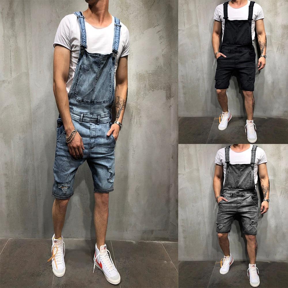 2019wish Fashion Men Of Camisole Cowboy Cloth Romper Ripped Denim Shorts Popular Work Clothes