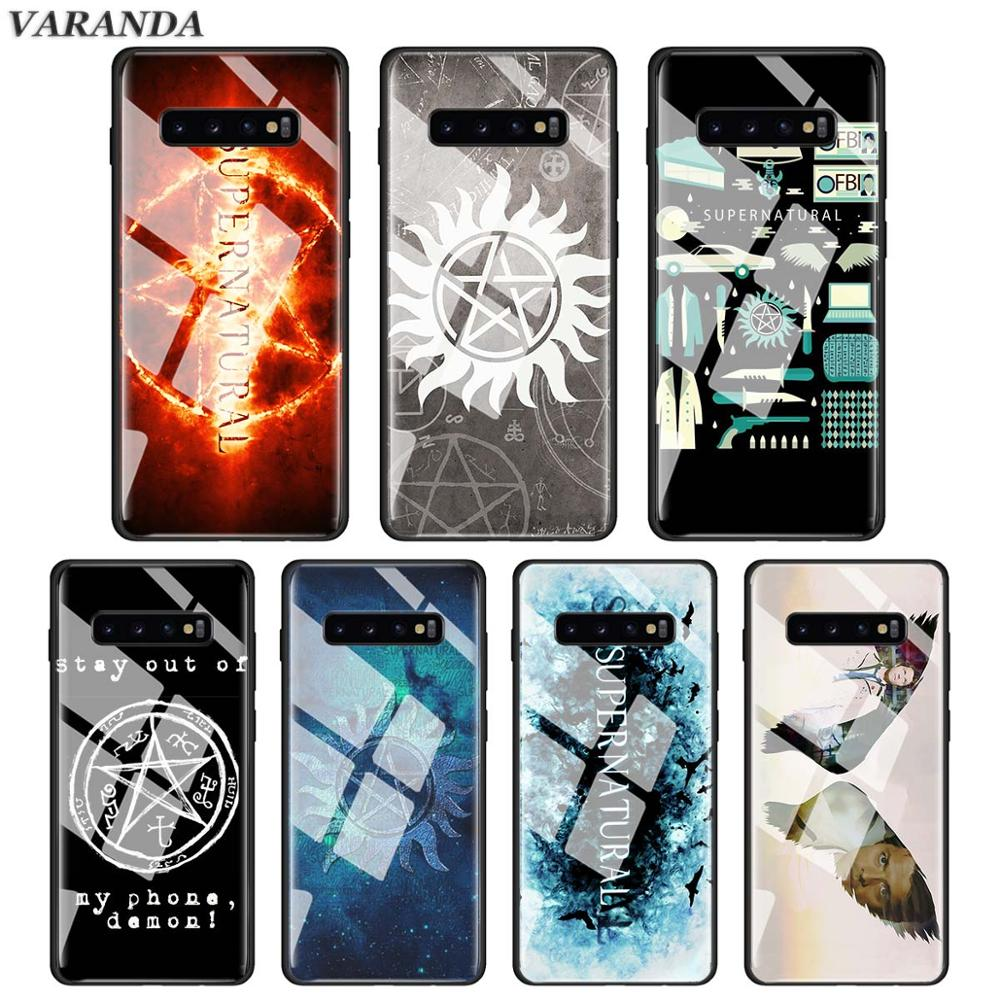 Supernatural TV Quotes logo Tempered Glass Case for Samsung Galaxy S10e S10 S9 S8 Plus A30 A50 Note 9 10 Glass Phone Cover Capa image