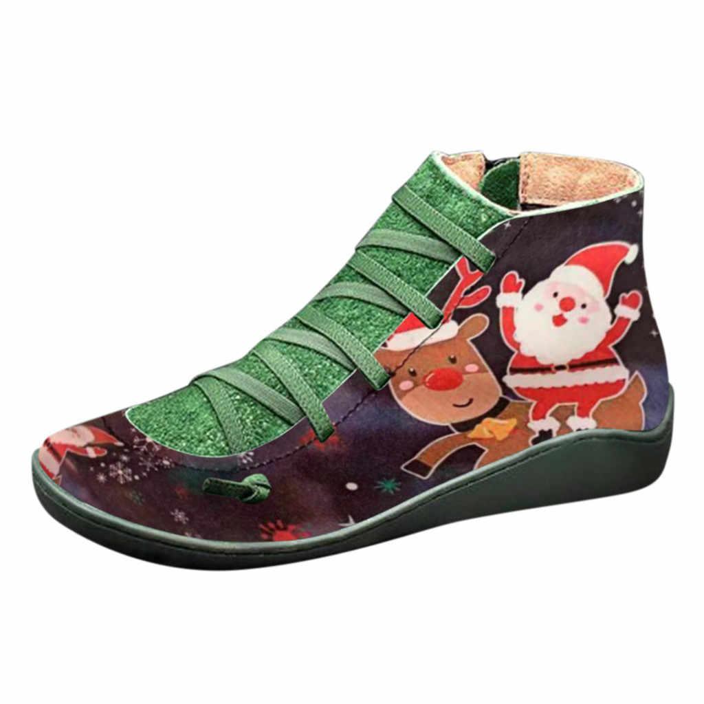 Botas de tornozelo de couro do plutônio feminino natal impresso cruz strappy vintage botas do punk senhoras lisas sapatos mulher botas mujer