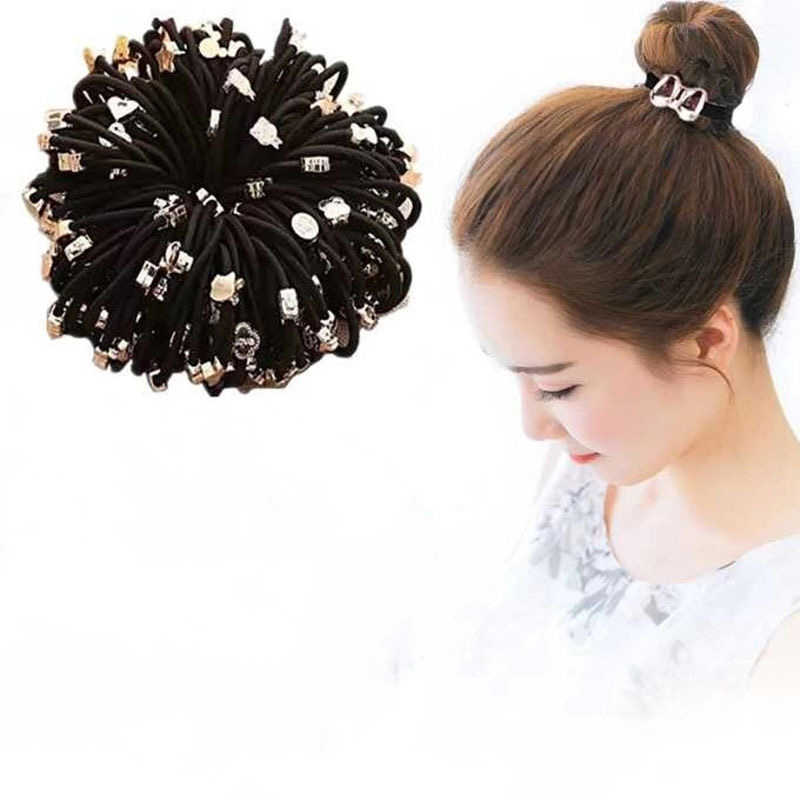 10pcs New Styles Asia Fashion Cute Rope Gum Rubber Band Black Scrunchie Elastic Ponytail Hair Accessories Hair Ties For Girl Aliexpress