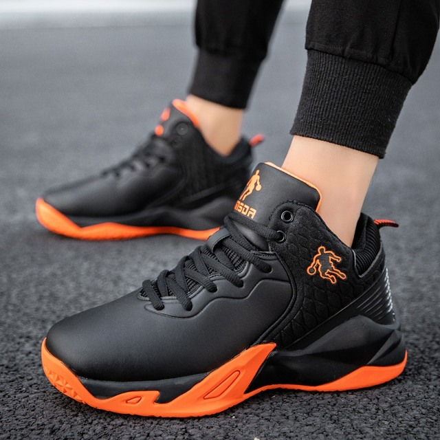 2019 autumn and winter men's basketball shoes junior high school students leather waterproof wear-resistant shock-absorbing boot 2