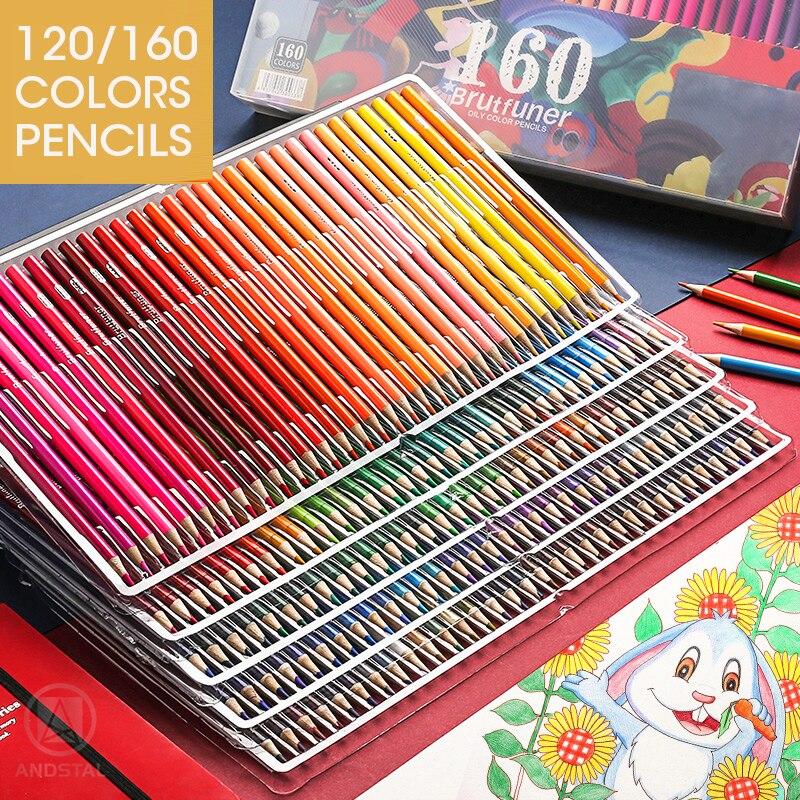 Andstal 120/160 цветов, профессиональный цветной карандаш, масляные, водяные, деревянные цветные карандаши, художественная живопись, цветные цвет...