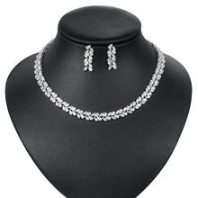 WEIMANJINGDIAN Brand Marquise Cut Cubic Zirconia Leaf Design Tennis Necklace and Earring Wedding Bridal Jewelry Set
