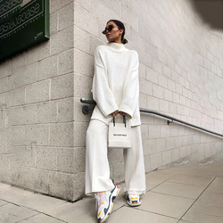 Autumn Winter 2019 Knitwear Pullover Sweater Women White Oversized Jumper Fashion Casual Turtleneck Basic Sweaters 1