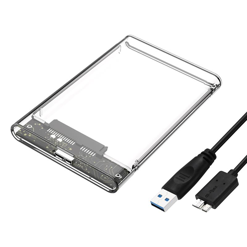 Blue 2.5 Inch USB 3.0 SATA 3.0 HD Hard Drive External Enclosure Support UASP Acceleration for PC Laptop USB 2.0 Mobile Hard Disk