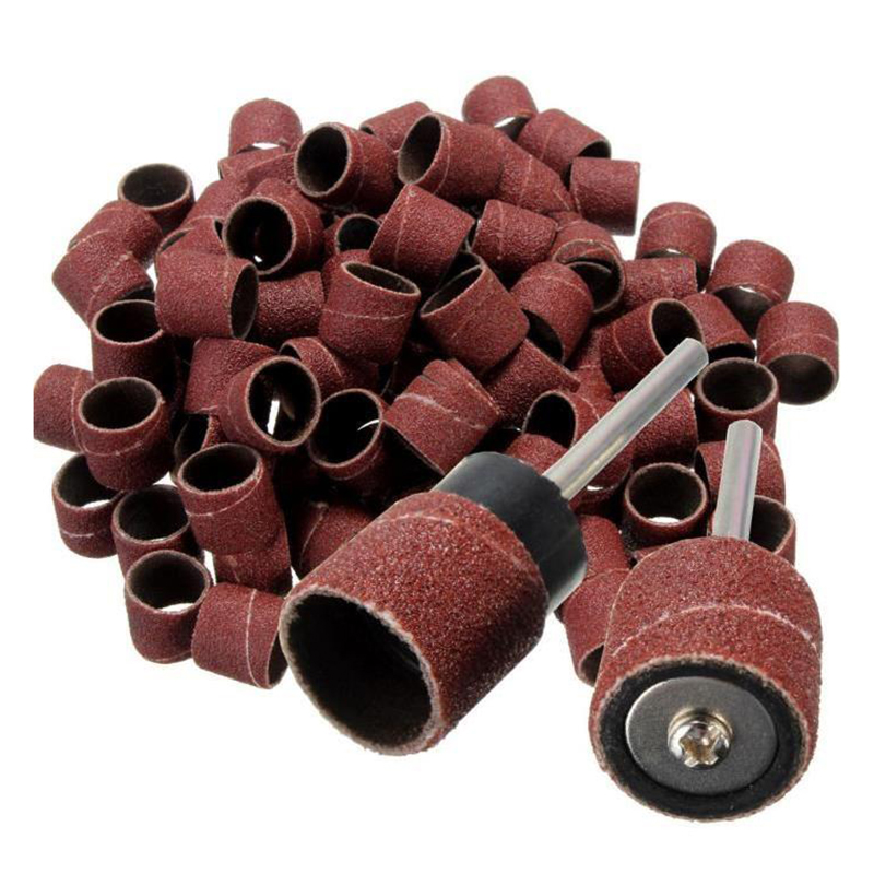 NEW-100 Pieces 1/2 Inch Polished Sandpaper Ring Polishing Abrasive Tape In Silicon Carbide + 2 Pieces X Rotary Chuck Or Mandrels