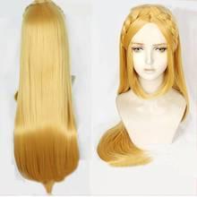 Zelda efsanesi: wild of Breath prenses Zelda bağlantı uzun sarı saç Cosplay Prop kostüm peruk + ücretsiz peruk kap