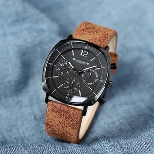 Image 4 - גברים עסקים ספורט שעונים שוויצרי קוורץ תנועה עמיד למים לוח Mens אופנה עור להקת נירוסטה שעון חדש ווכט