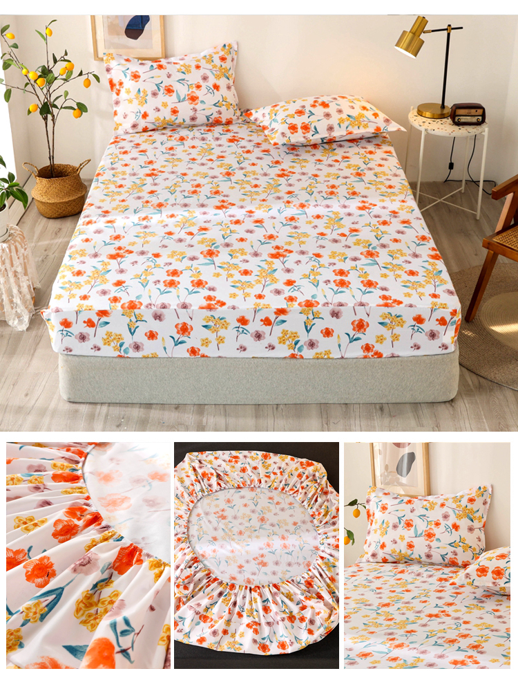 Bonenjoy 3 pcs Fitted Bed Sheets Single drap de lit Geometric Pattern Stitching Mattress Cover with elastic For Double Bed Sheet