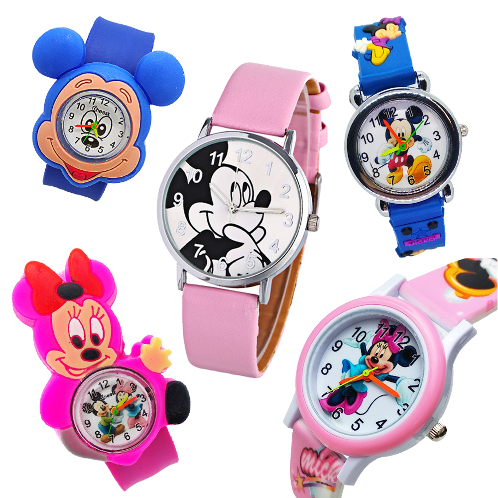 5 Style Mickey Minnie Leather Kids Quartz Watches Cartoon Children Watch Crystal Dress Students Women Anime Clock Girls Clock
