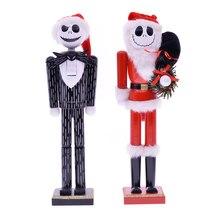 MYBLUE 35cm estatua Vintage de madera del cráneo Escultura del Cascanueces figurita Navidad muñeca adornos Hogar Accesorios de decoración para habitaciones