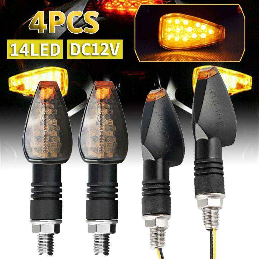 4X Motorcycle Turn Signal Smoke Lens LED Amber Indicator Light Blinker Universal
