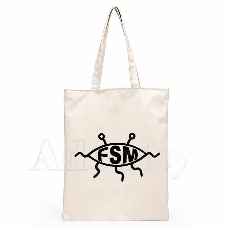 FSM Fliegende Spaghetti Monster Print Wiederverwendbare Einkaufstasche Frauen Leinwand Tote Taschen Druck Eco Tasche Cartoon Shopper Schulter Taschen