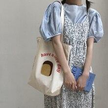 Women Canvas Shoulder Bag Toast Design Books Bag Female Cotton Cloth Shopping Bag Eco Handbag Tote Reusable Grocery Shopper Bags