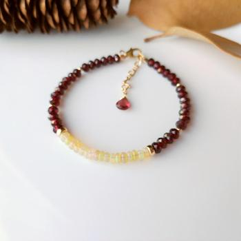 LiiJi Unique Real Ethiopia Fire Opals Faceted Red Garnet Bracelet Goldfilled Delicate Bracelet For Women Girl Jewelry
